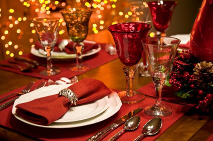 Adornos navideños mesa
