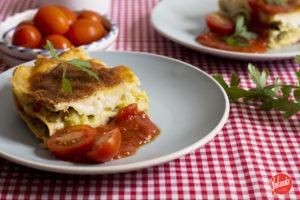 lasaña de verduras sin huevo