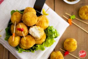Bolitas de queso crujiente sin huevo