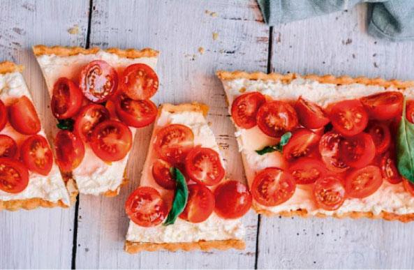 Quiche Lorraine con masa brisa o quebrada de queso y tomate seco