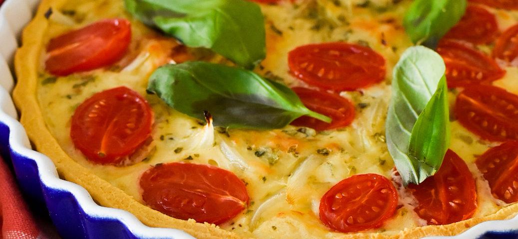 quiche de tomates y albahaca sin huevo