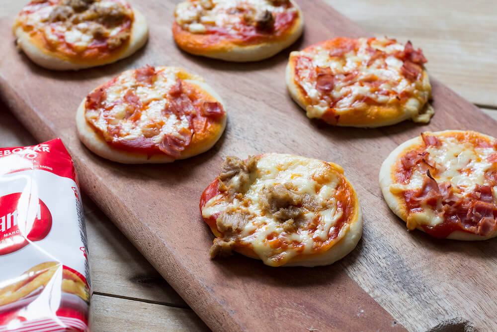 mini pizzas sin huevo