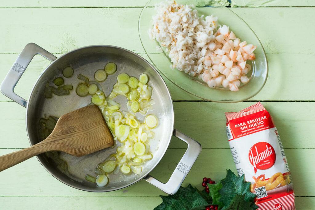 Tartaletas de marisco con harina Yolanda